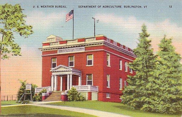 U.S. Weather Bureau at Burlington Vermont VT Linen Postcard - 0879