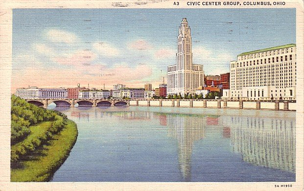 Civic Center Group in Columbus Ohio OH, 1935 Curt Teich Linen Postcard - 0914