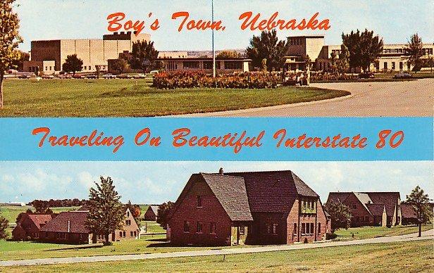 Boys Town Off Interstate 80 in Omaha Nebraska NE Chrome Postcard - 0923