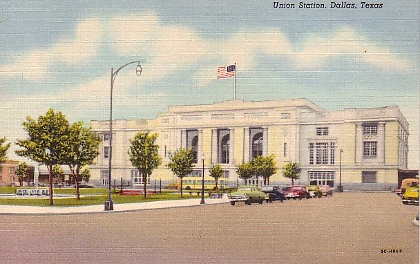 Union Station in Dallas, 1953 Curt Teich Linen Texas TX Postcard - 0958