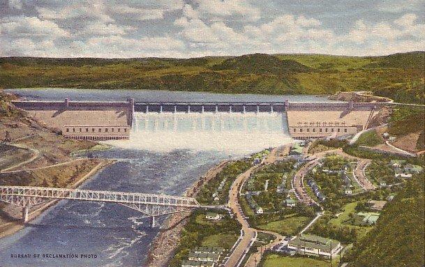 Grand Coulee Dam 1948 Curt Teich Linen Washington WA Postcard - 0959