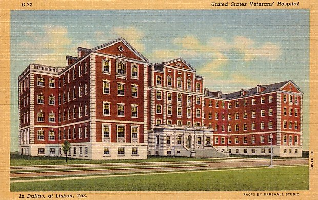 United States Veterans Hospital in Lisbon Texas TX 1940 Curt Teich Linen Postcard - 0963