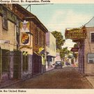 Quaint Old St. George Street in St. Augustine Florida Linen Postcard - 1078