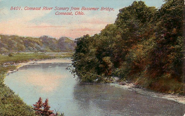 Conneaut River in Ohio OH Vintage Postcard - 1101