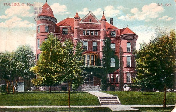Hospital in Toledo Ohio OH, 1908 Vintage Postcard - 1107
