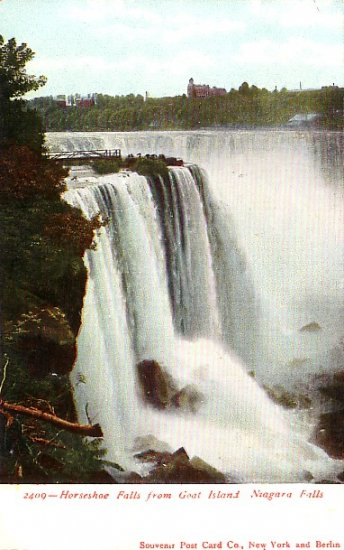 Horseshoe Falls from Goat Island at Niagara Falls, New York Vintage Postcard - 1131