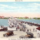 Vintage Cars on Municipal Pier at St. Petersburg Florida FL Vintage Postcard - 1155