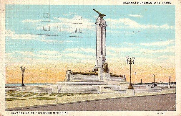 Maine Explosion Memorial in Havana Cuba 1937 Vintage Postcard - 1196