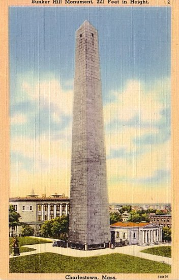 Bunker Hill Monument in Charlestown, Massachusetts MA Linen Postcard - 1197