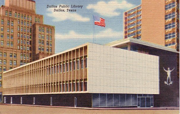 Dallas Public Library in Texas TX 1956 Curt Teich Linen Postcard - 1223