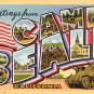 Greetings from Camp Beale California CA 1943 Large Letter Linen Postcard - 1231