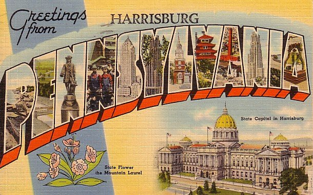 Greetings from Harrisburg Pennsylvania Large Letter Linen Postcard - 1240