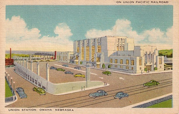 Union Station in Omaha Nebraska NE Mid Century Linen Postcard - 1424