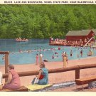 Vogel State Park Beach and Lake with Swimmers, Blairsville Georgia GA Postcard - 1470