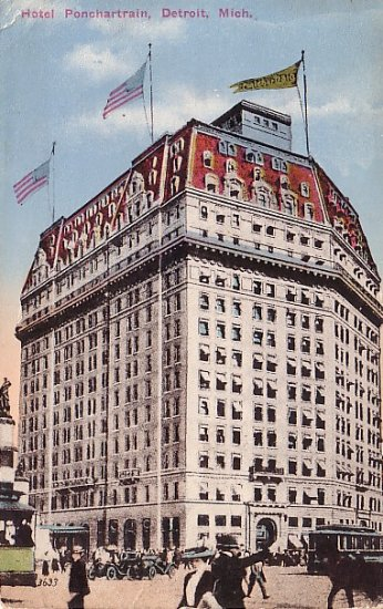Hotel Ponchartrain in Detroit, Michigan MI Vintage Postcard - 1565