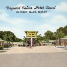 Tropical Palms Hotel Court  in Daytona Beach, Florida FL Linen Postcard - 1571