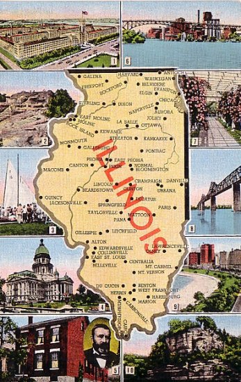 Illinois Multi View Mid Century Linen Map Postcard - 1622