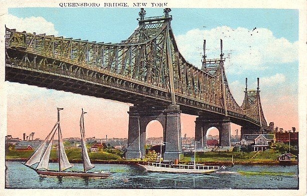 Queensboro Bridge in New York City NY, 1927 Vintage Postcard - 1659