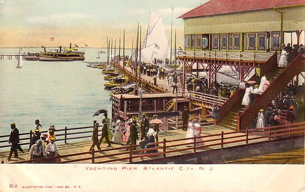 Busy Yachting Pier in Atlantic City New Jersey NJ Vintage Postcard - 1663