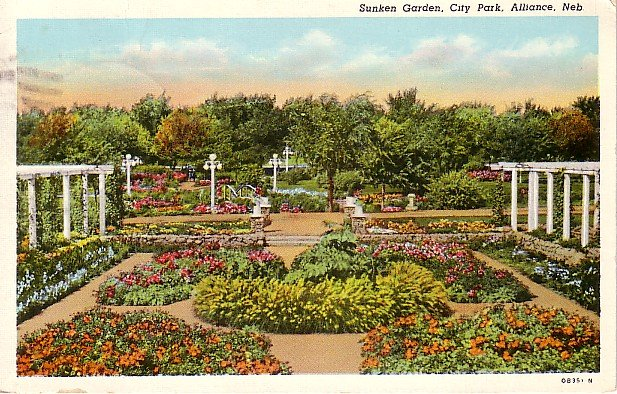 Sunken Garden in City Park at Alliance Nebraska NE 1940 Curt Teich Postcard - 1722