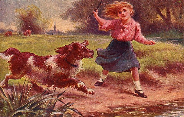 Girl Playing with her Dog, Sunny Hours Series Raphael Tuck & Sons Postcard - 1736