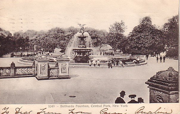 Bethseda Fountain in Central Park at New York City NY 1906 UND Back Vintage Postcard - 1804