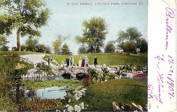 Rustic Bridge in  Lincoln Park, Chicago Illinois IL 1907 Vintage Postcard - 1808