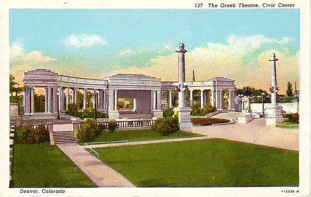 The Greek Theatre in Civic Center at Denver, Colorado CO Vintage Postcard - 1820