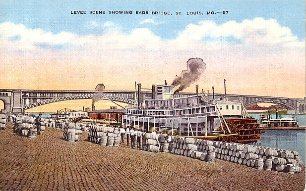 Levee Scene Showing Eads Bridge at St. Louis Missouri MO Postcard - 1826