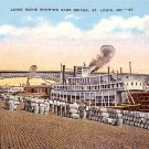 Levee Scene Showing Eads Bridge at St. Louis Missouri MO Postcard - 1826