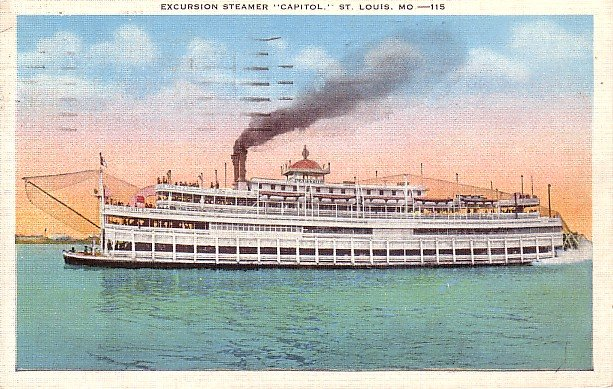 Excursion Steamer Capitol at St. Louis Missouri MO Vintage Postcard - 1828