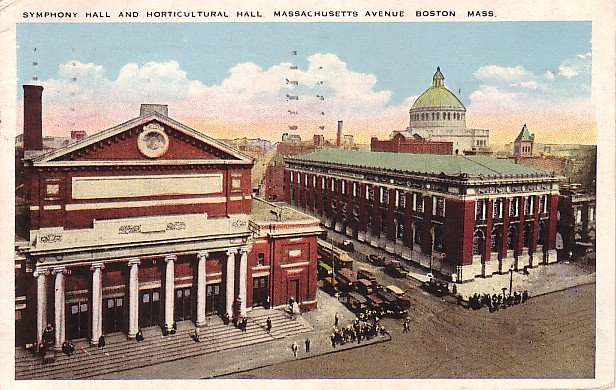 Symphony & Horticultural Hall in Boston Massachusetts MA 1924 Vintage Postcard - 1849