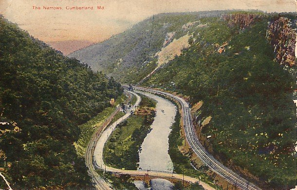 The Narrows at Cumberland Maryland MD 1908 Vintage Postcard - 1885