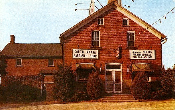 South Amana Sandwich Shop in Iowa IA Chrome Postcard - 1945