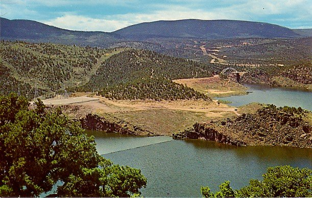 Flaming Gorge Reservoir & Cart Creek Bridge in Utah, Wyoming Chrome Postcard - 2128