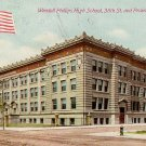 Wendell Phillips High School in Chicago Illinois IL 1910 Vintage Postcard - 2198