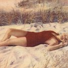 Mid Century Pinup Bathing Beauty with Red Swimsuit on Beach MWM Linen Postcard - 2223