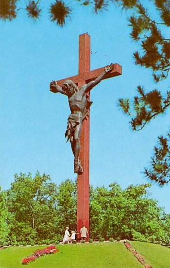 Catholic Shrine of Crucifix in Indian River Michigan MI Chrome Postcard - 2238