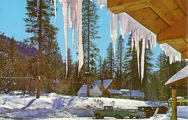 Winter time at Glen Lodge in Camp Angelus, California CA Chrome Postcard - 2250