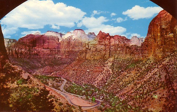 Window in Zion Tunnel at Zion National Park in Utah UT, Postcard - 2251