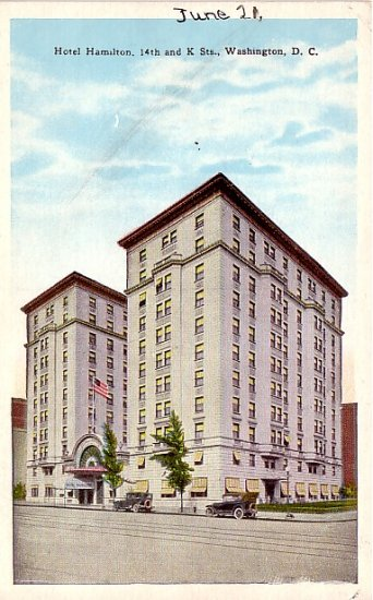 Hotel Hamilton in Washington, DC Vintage Postcard - 2286