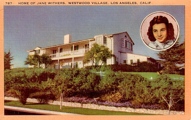 Jane Withers Portrait and Home in Los Angeles California CA, Linen Postcard - 2306