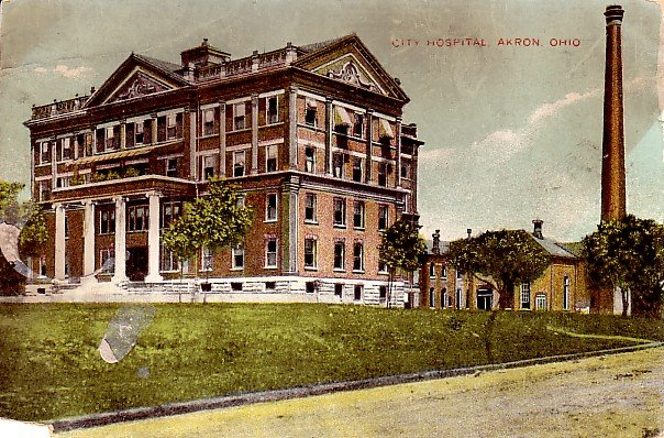 City Hospital in Akron Ohio Vintage Postcard - 2310