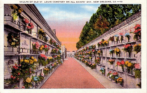 Vaults of Old St. Louis Cemetery on All Saints' Day in New Orleans Louisiana LA Postcard - 2358