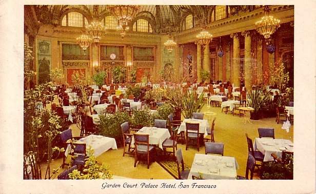 Garden Court Restaurant at Palace Hotel in San Francisco California CA 1950 Postcard - 2368