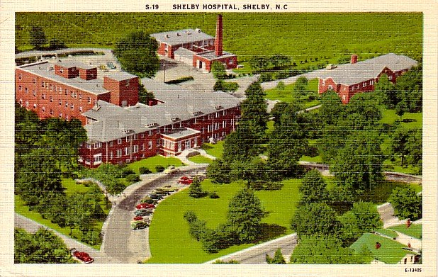 Hospital in Shelby North Carolina NC, Mid Century Linen Postcard - 2380