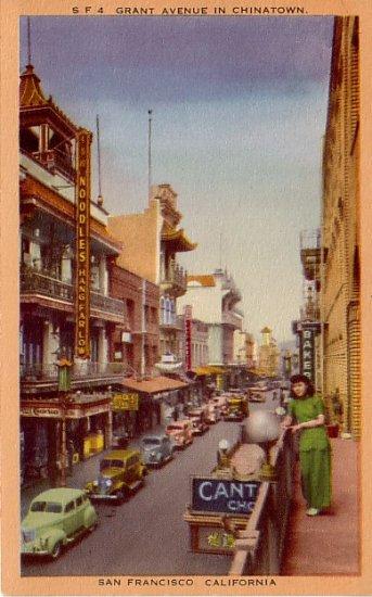 Grant Avenue in Chinatown, San Francisco California CA Linen Postcard - 2393