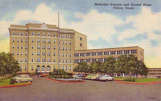 Methodist Hospital and Nurses Home in Dallas Texas TX, 1953 Curt Teich Linen Postcard - 2449