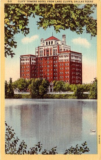 Cliff Towers Hotel from Lake Cliffs in Dallas Texas TX, Linen 1935 Curt Teich Postcard - 2452