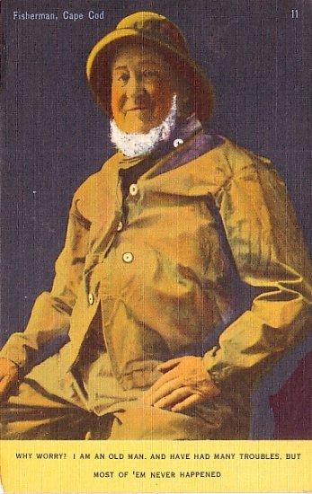 Cape Cod Massachusetts MA Fisherman in Yellow Slicker, Linen Postcard - 2473